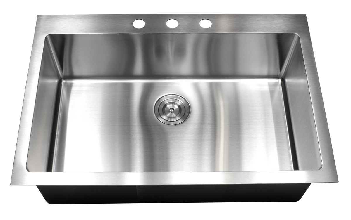 33 Inch Top Mount Drop In Stainless Steel Single Bowl Kitchen Sink