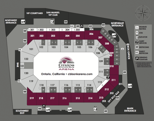 Standard Seating Chart Map Citizens Business Bank Arena