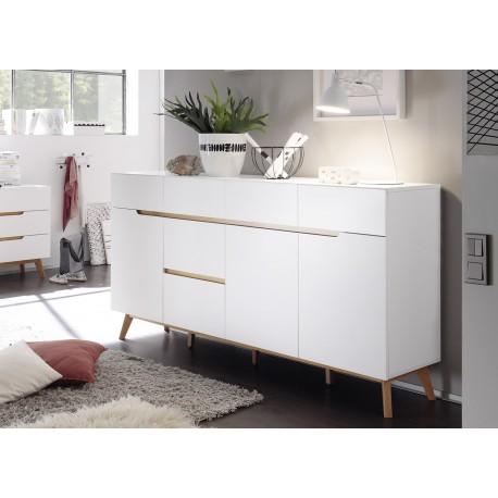 buffet scandinave blanc et bois 193 cm cbc meubles