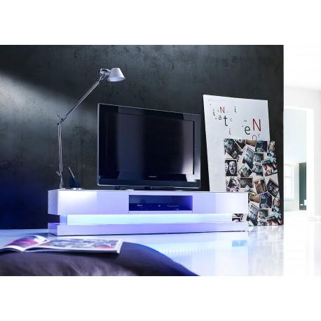 meuble tv design blanc laque eclairage led rgb cbc meubles