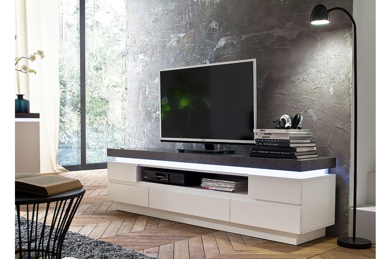 Meuble TV Design Laqu Blanc Mat Et Effet Bton Led