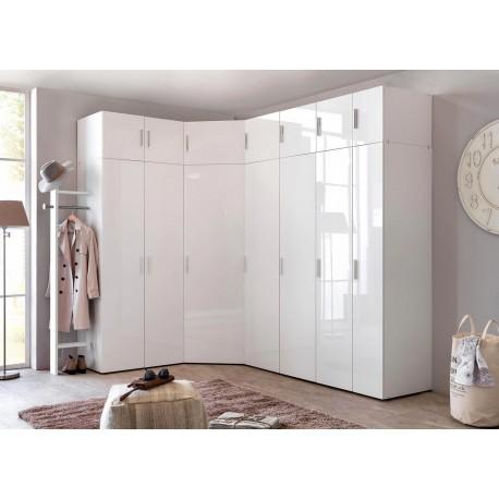 armoire d angle dressing blanc brillant design cbc meubles