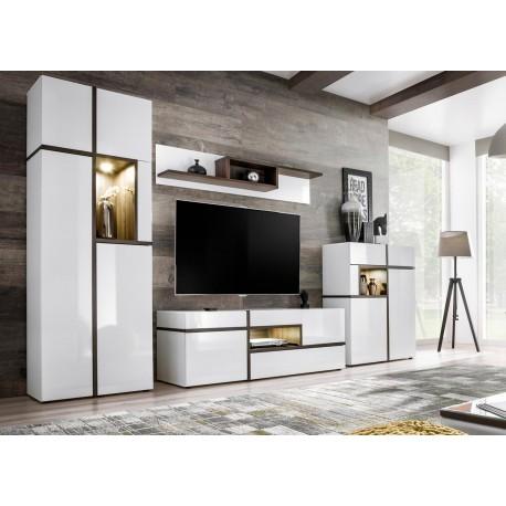 ensemble meuble tv mural blanc a led