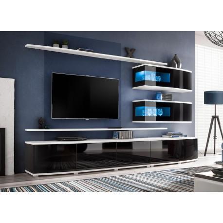 ensemble meuble tv mural noir et blanc cbc meubles