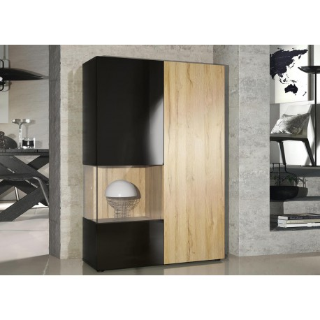 meuble vitrine design en verre et bois finition laquee