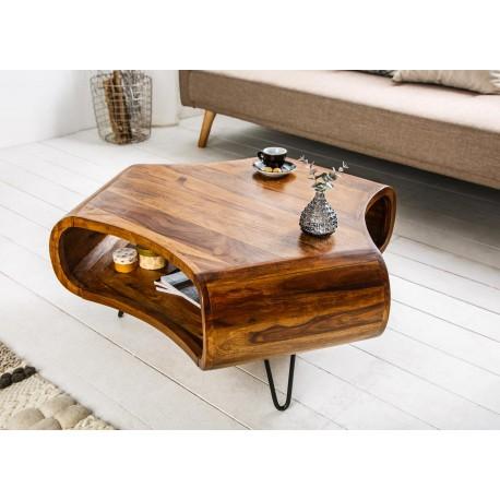 table basse en bois sesham et pied epingle cbc meubles