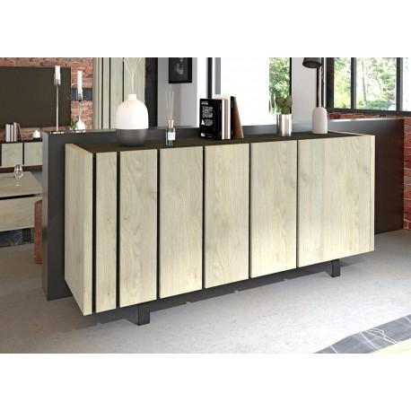 buffet bahut design 3 portes chene et decor noir cbc meubles