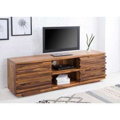 meuble tv bois massif sesham facades en relief 150 cm cbc meubles