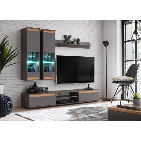 meuble tv design mural gris anthracite a led