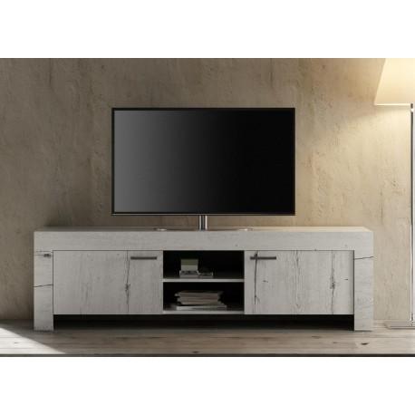 meuble tv chene blanc contemporain 180 cm