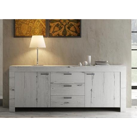 buffet design bois chene blanchi 2 portes et 3 tiroirs