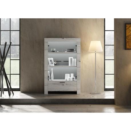 meuble vitrine chene blanchi 2 portes en verre et 1 tiroir cbc meubles