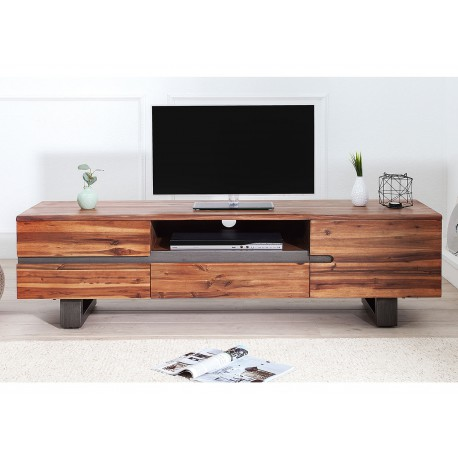 meuble tv bois massif en acacia pied luge industriel cbc meubles
