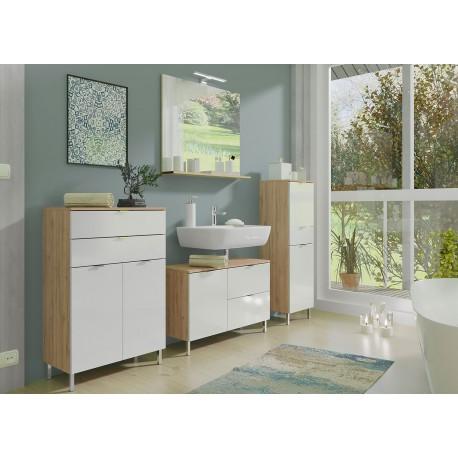 ensemble meubles salle de bain blanc et chene grandson cbc meubles
