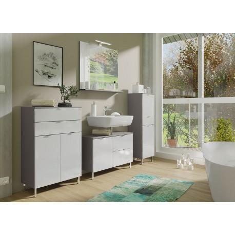 ensemble meubles salle de bain blanc et gris graphite cbc meubles