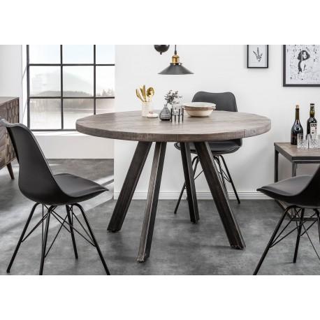 table de salle a manger ronde bois massif manguier gris et pied metal cbc meubles