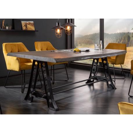table a manger industrielle acacia gris 2m20 cbc meubles