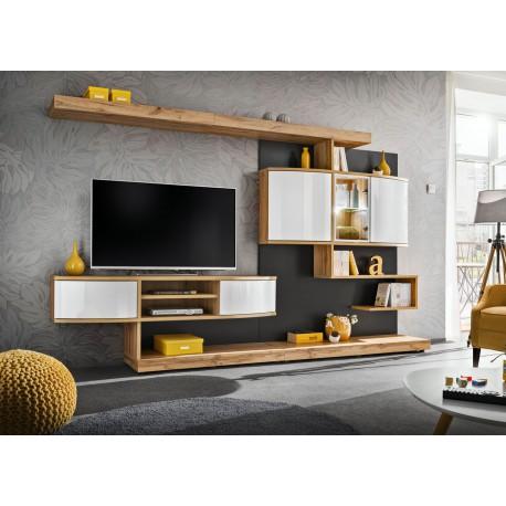 ensemble meuble tv mural blanc et chene