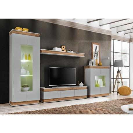 ensemble meuble tv mural gris perle et chene cbc meubles