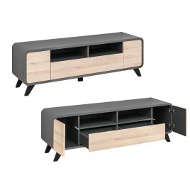 meuble tv scandinave moderne chene et anthracite