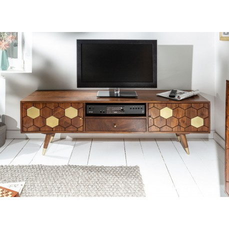 meuble tv bois massif d acacia 2 portes et 1 tiroir 140 cm cbc meubles