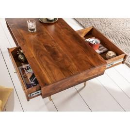 table basse rectangulaire bois massif 2 tiroirs 117 cm