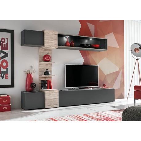 meuble tv gris anthracite et bois a led cbc meubles