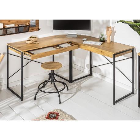 bureau d angle design chene naturel et pied metal noir cbc meubles