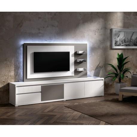meuble tv design blanc avec panneau tv gris brun nora k47