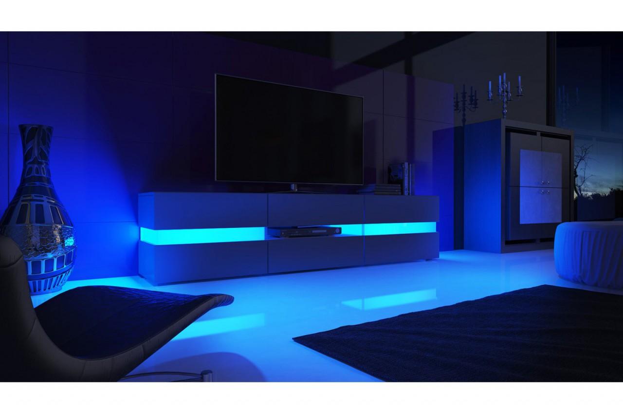 meuble tv hifi lumineux laque blanc 3