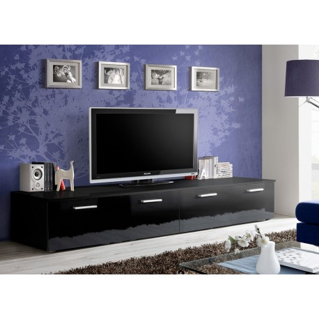 banc tv long 2 m noir laque marty 1 cbc meubles