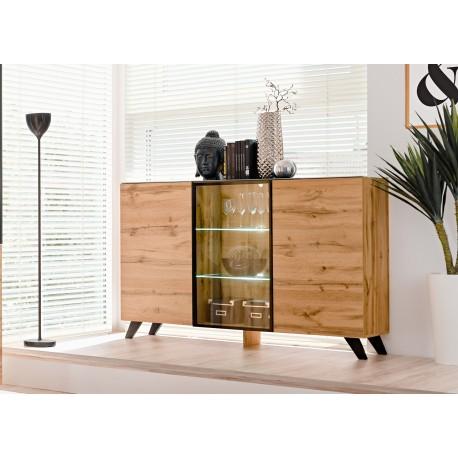 buffet en bois et verre avec eclairage led jao cbc meubles