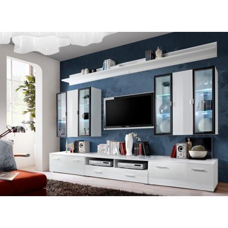 meuble tv avec vitrine murale et eclairage led iceland cbc meubles