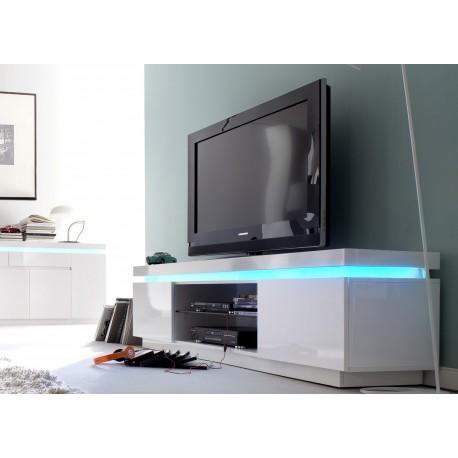meuble tv design laque blanc a led rgb cbc meubles