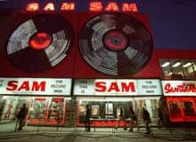Sam the Record Man's original Toronto flagship store, shown in this 2001 photo, closed down in July 2007 due to declining sales.