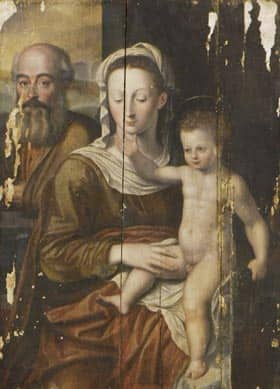The Holy Family, a 16th painting depicting Mary, Joseph and baby Jesus that one expert attributes to Flemish master Hendrick van den Broeck was one of 10 paintings recovered.