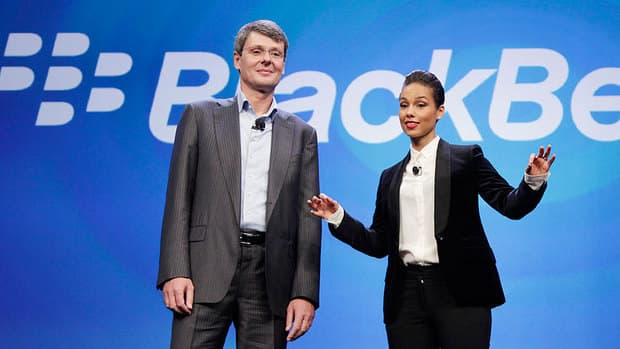 BlackBerry CEO Thorsten Heins introduces Alicia Keys as the company's global creative director in New York on Wednesday.