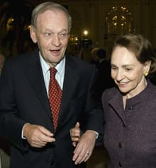 Former prime minister Jean Chrétien, accompanied by his wife Aline, leaves a meeting on Sept. 12 with the publishers of his forthcoming book My Years as Prime Minister.