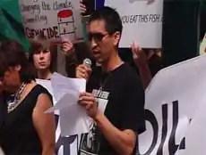 Lionel Lepine speaks at a demonstration against oilsands development outside a Calgary petroleum symposium Monday.