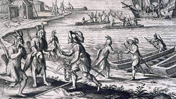 A detail from a 17th century engraving shows English businessmen John Guy meeting Beothuk in Trinity Bay
