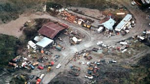 An aerial view of Robert Pickton's farm in Port Coquitlam, B.C., taken by police during their investigation in 2002.