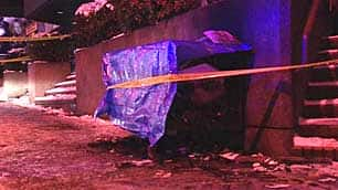The shopping cart where police found homless woman burning