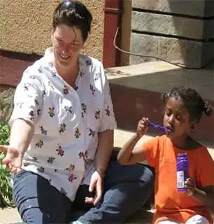 Dassie, with adoptive mom Terri Hambruch.