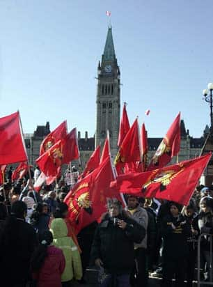 Canadian Tamils protesting on Parliament Hill in May 2009. Large protests also took place in many European capitals and at the UN in New York. (Patrick Doyle/Canadian Press)