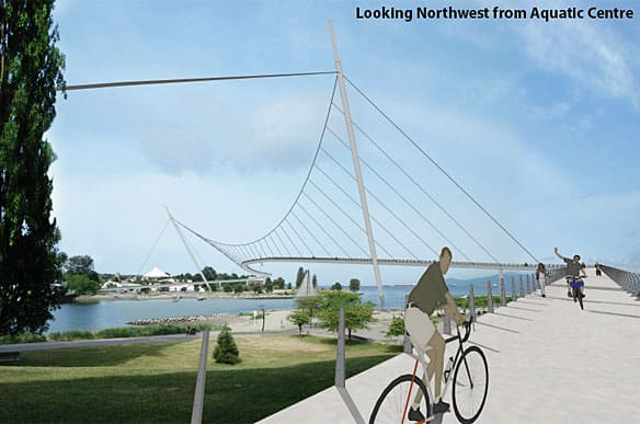 Architect Gregory Henriquez's proposal for a pedestrian bridge across False Creek that would connect Kitsilano with the West End.
