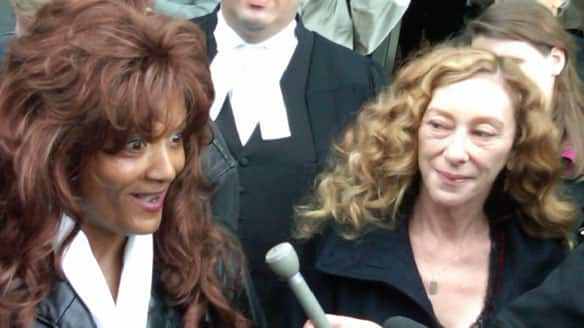 Terri-Jean Bedford, left, and Valerie Scott, shown in 2009, along with a third woman, launched a constitutional challenge of Canada's anti-prostitution laws. An Ontario court ruled Tuesday the Criminal Code provisions relating to prostitution contribute to the danger faced by sex-trade workers.