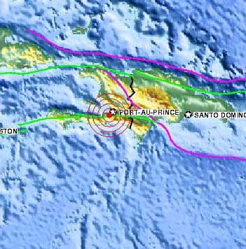 The green line south of Port-au-Prince shows the fault line where the 7.0-magnitude quake was centred. The epicentre was 10 kilometres beneath the surface. (U.S. Geological Survey)