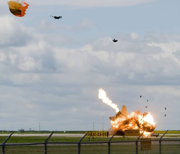 Capt. Brian Bews successfully ejects from a CF-18 Hornet before it crashes and explodes at the Lethbridge airport on July 23.