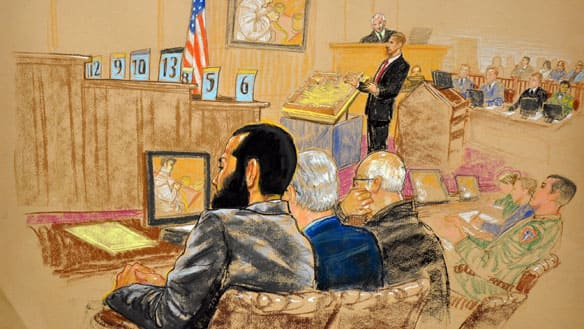 Omar Khadr, left, listens to opening statements at his trial. The nearby numbers indicate members of the military commission jury, who are not allowed to be sketched. This sketch was reviewed by the U.S. military.