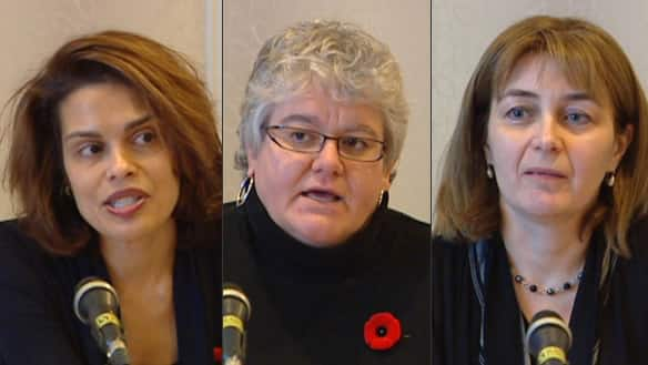 Physicians Bridget Fernandez, Sandra Luscombe and Julia Trahey spoke with reporters Friday about their decision to resign. (CBC)